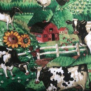 VINTAGE Concord Fabric Inc USA FARM SCENE 3 bolts